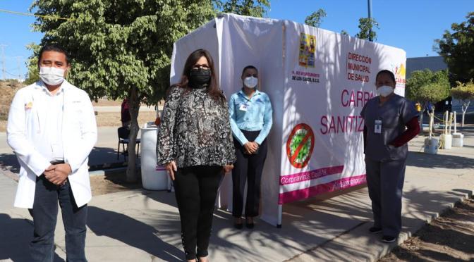 Gobierno de Armida Castro se compromete a mantener abastecidas las Carpas Sanitizantes que entregó a instituciones de salud en CSL